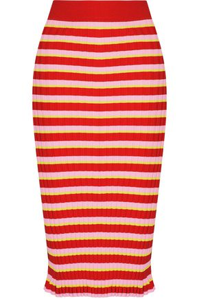 ALTUZARRA Bloomfield striped ribbed-knit skirt