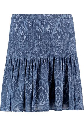 MICHAEL MICHAEL KORS Pleated printed crepe mini skirt