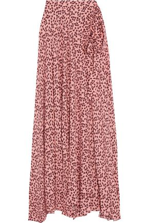 ALEXIS Corinna wrap-effect polka-dot satin maxi skirt
