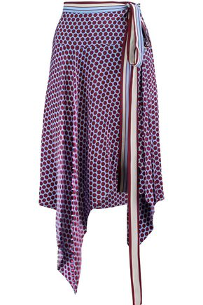 ALEXIS Danica wrap-effect polka-dot and striped silk skirt