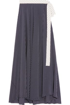 ALEXIS Corinna wrap-effect polka-dot satin maxi skirt