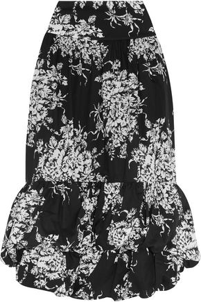 SONIA RYKIEL Tiered floral-print cotton midi skirt