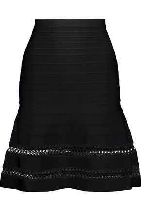 HERVÉ LÉGER Amelie lattice-trimmed bandage skirt