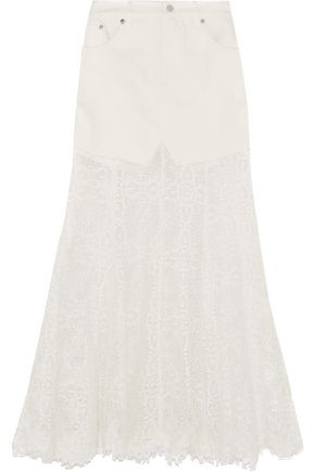 McQ Alexander McQueen Denim and lace skirt