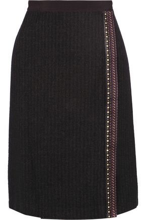 ETRO Embellished wool and silk-blend wrap skirt