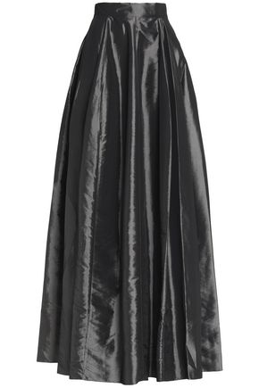 HALSTON HERITAGE Pleated taffeta maxi skirt