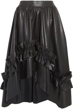 CEDRIC CHARLIER Ruffled faux leather midi skirt