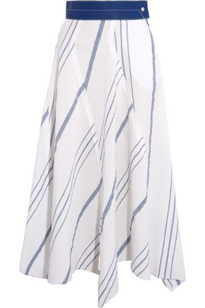 LOEWE Leather-trimmed striped cotton and linen-blend midi skirt
