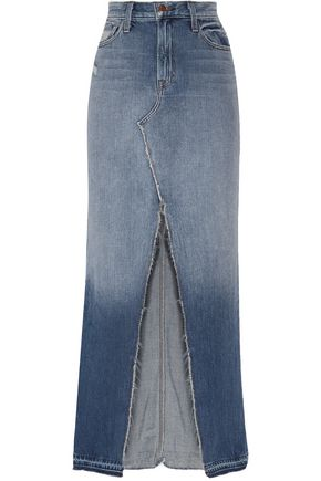 J BRAND Distressed faded denim maxi skirt
