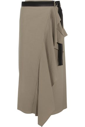 BRUNELLO CUCINELLI Crinkled wrap-effect cotton-blend maxi skirt