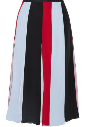 GABRIELA HEARST Pleated color-block silk-georgette skirt