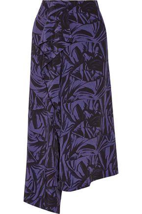 LOEWE Ruffled printed crepe de chine midi skirt