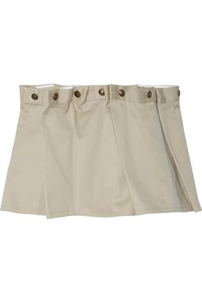 Y PROJECT Button-embellished pleated cotton-twill mini skirt