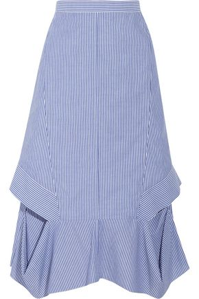 CHALAYAN Cutout striped cotton-poplin midi skirt