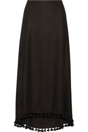 FIGUE Matador tassel-trimmed silk-blend midi skirt