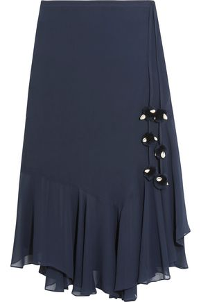 FIGUE Maxime pompom-embellished silk-georgette skirt