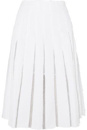 REJINA PYO Olivia pleated cotton-blend twill and organza skirt
