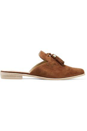STUART WEITZMAN Slidealong tasseled suede slippers