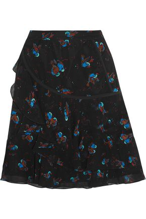 COACH Tiered printed crinkled-silk mini skirt