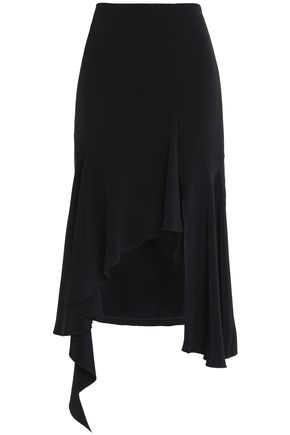 GOEN.J Asymmetric ruffled silk-cady midi skirt