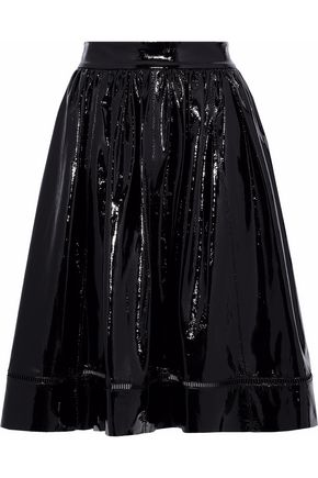 ALICE + OLIVIA Misty flared patent-leather skirt