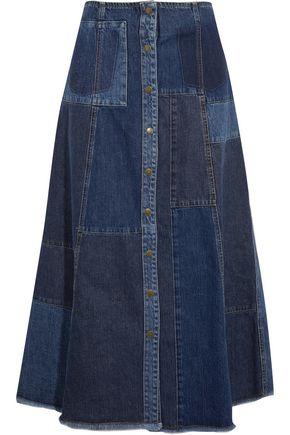 McQ Alexander McQueen Patchwork denim midi skirt