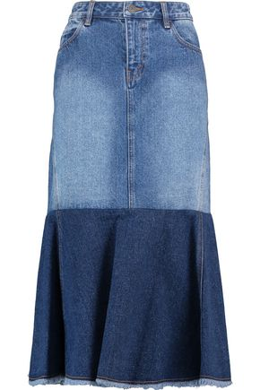 ROBERT RODRIGUEZ Two-tone frayed denim midi skirt
