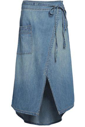 CURRENT/ELLIOTT The Paperbag denim wrap midi skirt