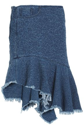 MARQUES ' ALMEIDA Frayed asymmetric ruffled denim skirt