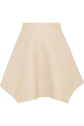 DELPOZO Asymmetric linen-canvas mini skirt