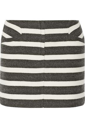 MAJE Two-tone striped woven mini skirt