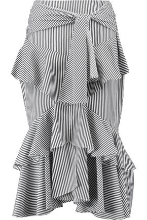 REBECCA VALLANCE The Parker ruffled striped cotton-blend midi skirt
