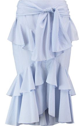 REBECCA VALLANCE Belted striped tiered poplin skirt