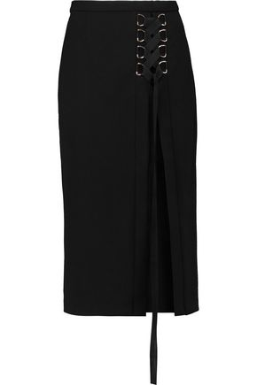 REBECCA VALLANCE Billie lace-up crepe skirt
