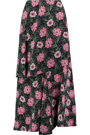 MARNI Layered printed crepe maxi skirt