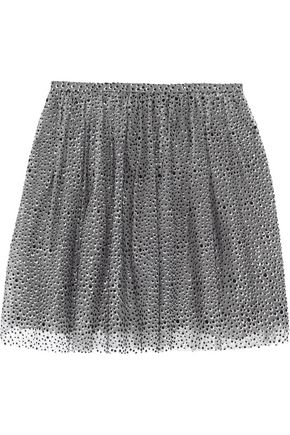 REDValentino Pleated metallic embellished tulle mini skirt