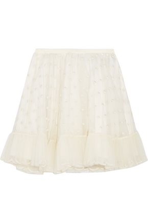 REDValentino Swiss dot tulle-trimmed organza mini skirt