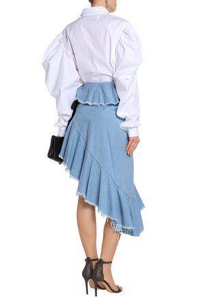 MARQUES' ALMEIDA Asymmetic cotton-chambray midi skirt