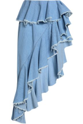 MARQUES ' ALMEIDA Frayed asymmetric ruffled chambray skirt