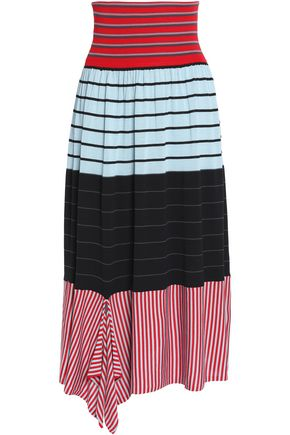 SONIA RYKIEL Paneled striped silk and cotton-blend jacquard midi skirt