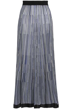 SONIA RYKIEL Satin-trimmed stretch-knit maxi skirt