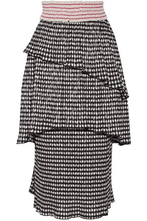 ROSIE ASSOULIN Mountain Range gingham seersucker midi skirt