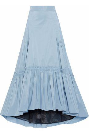 PETER PILOTTO Asymmetric pintucked shirred faille maxi skirt