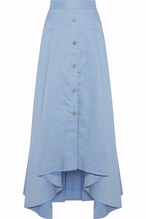 PETER PILOTTO Asymmetric button-detailed cotton and linen-blend maxi skirt