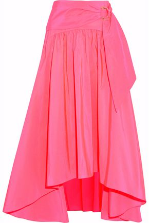 PETER PILOTTO Buckled asymmetric pleated poplin midi skirt