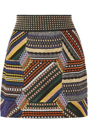 MISSONI Paneled metallic stretch-knit mini skirt