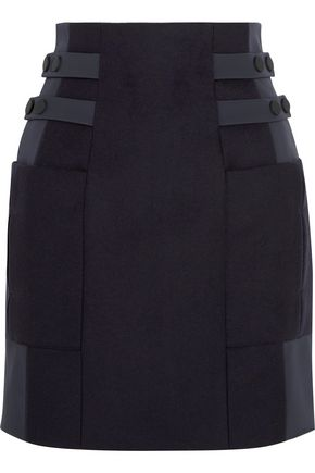 TOPSHOP UNIQUE Shell-paneled wool-blend mini skirt