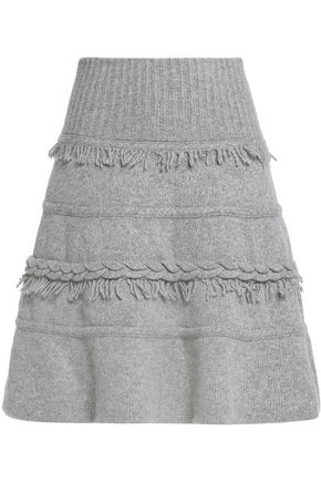 AGNONA Fringed wool and cashmere-blend mini skirt