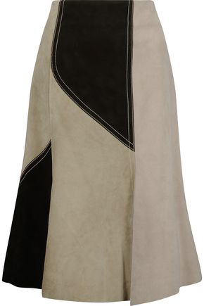 DEREK LAM Color-block fluted suede skirt