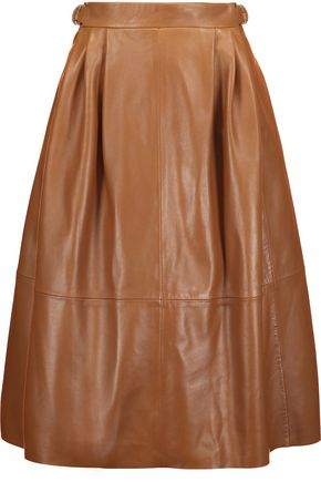 DEREK LAM Pleated leather midi skirt